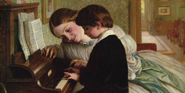 Music Lesson Painting by Charles West Cope; Music Lesson Art Print for sale