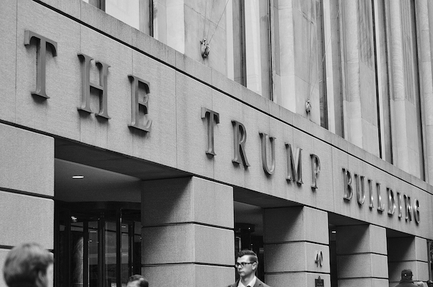 A front view of the Trump building in Wall street.