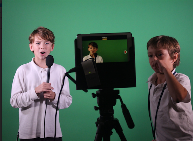 6th-graders record an interview in the school's new media lab. Credit: J. Rogers